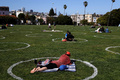 Mission Dolores Park In San Francisco Encourages Social Distancing With Marked Circles